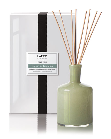 Lafco Fresh Cut Gardenia Reed Diffuser – Living Room, 15 oz./ 444 mL
