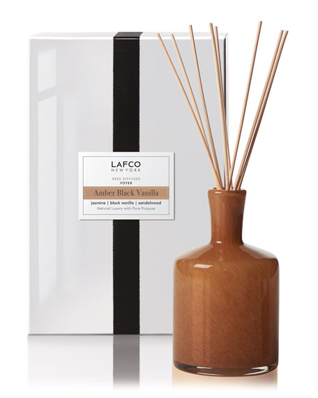 Lafco Amber Black Vanilla Reed Diffuser – Foyer, 15 oz./ 444 mL