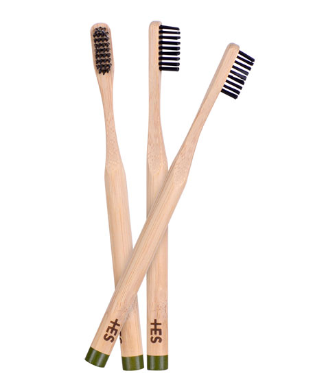 Image 3 of 3: Charcoal Bristle Bamboo Toothbrush