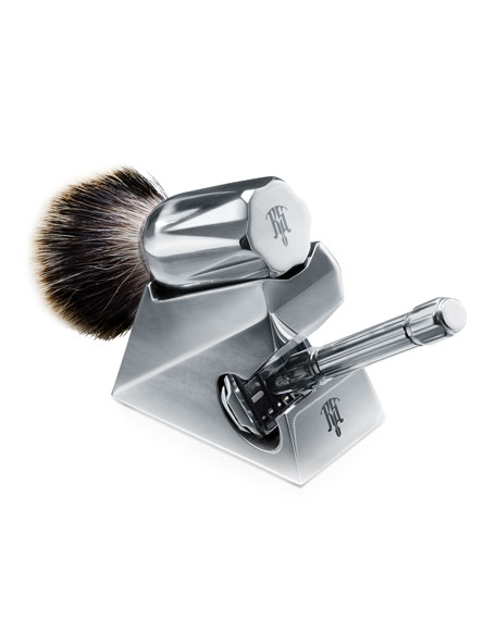 Raw Shaving Set of Safety Razor with Lubricant, Brush and Stand