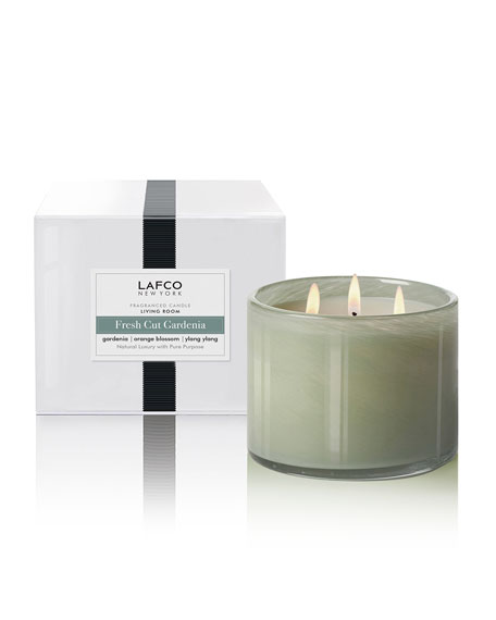 Lafco Fresh Cut Gardenia 3-Wick Candle - Living Room, 30 oz./850g