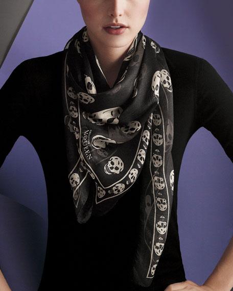Chiffon Skull Scarf, Black/Ivory