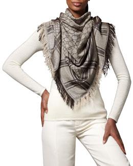 Gucci Shimmer GG Pattern Shawl, Beige/Gold