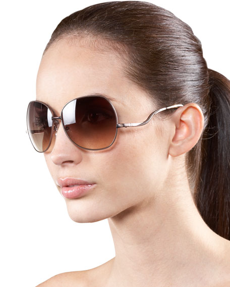 Metal-Rim Oversize Sunglasses, Cream