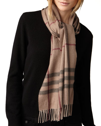 Burberry Exploded Check Scarf, Smoked Trench