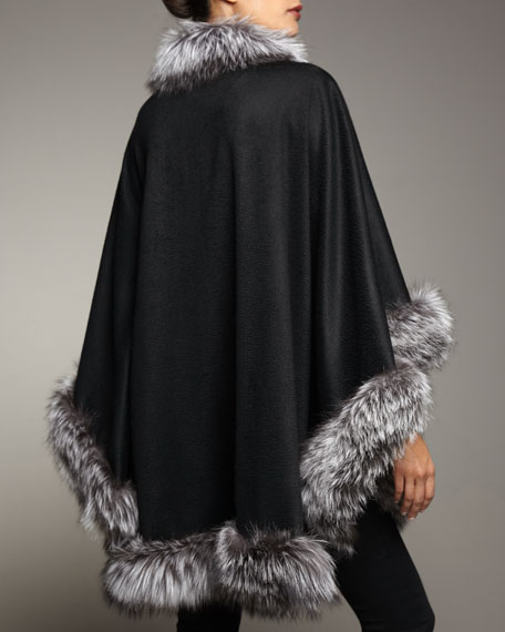 Sofia Cashmere Natural Silver Fox Fur Trimmed Cashmere Cape, Black