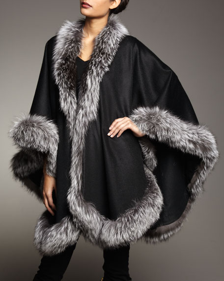 Natural Silver Fox Fur Trimmed Cashmere Cape, Black