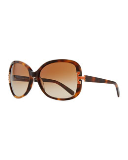 Tory Burch T-Logo Sunglasses, Orange