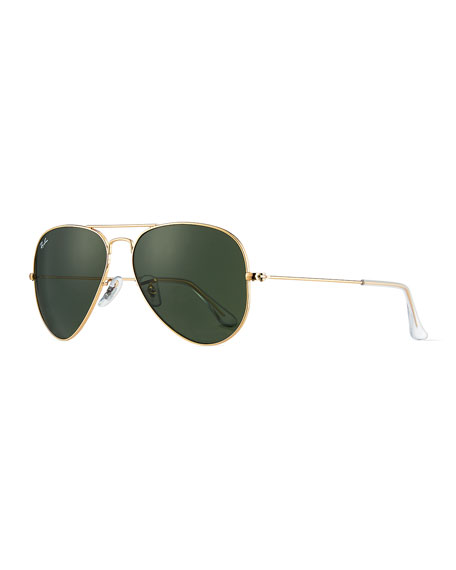 Classic Aviator Sunglasses, Gold/Green