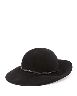 Eric Javits Moxi Medium-Brim Cloche Hat, Black