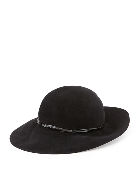 Moxi Medium-Brim Cloche Hat, Black