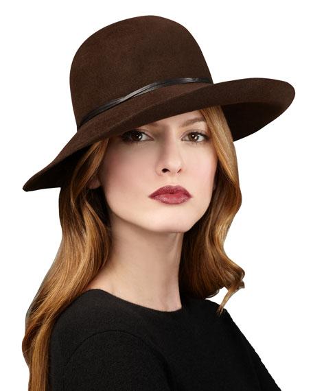 Moxi Medium-Brim Cloche Hat, Brown