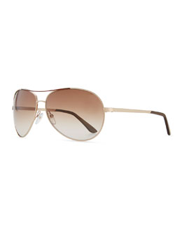 Tom Ford Classic Aviator Sunglasses, Rose Gold