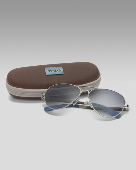 Classic 301 Sunglasses, Silver/Light Blue