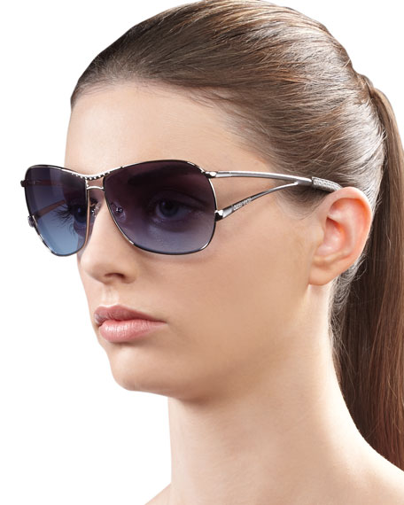Catchy Crystal-Encrusted Sunglasses, Silvertone