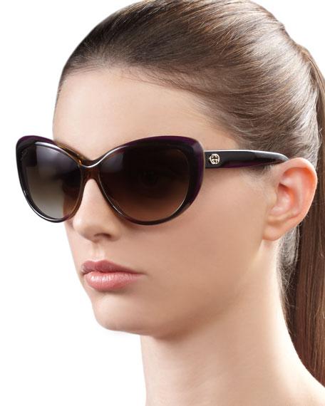 Round Cat Eye Sunglasses, Brown