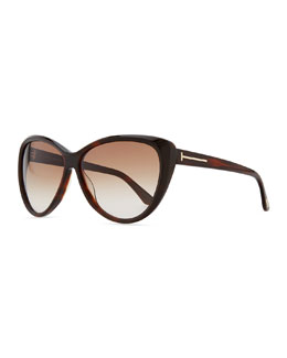 Tom Ford Malin Cat-Eye Sunglasses, Havana