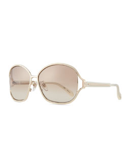Carolina Herrera Shiny Metal-Frame Sunglasses