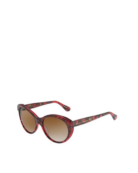 Floating Logo Polarized Sunglasses, Garnet Textured