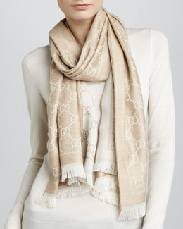 Gucci GG Woven Scarf, Beige