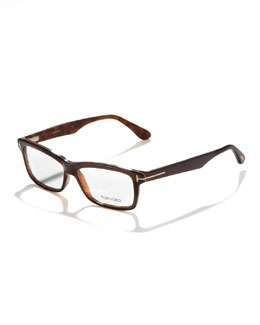 Tom Ford Unisex Soft Rectangular Fashion Glasses, Brown