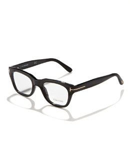 Tom Ford Unisex Semi-Squared Fashion Glasses, Shiny Black/Rose Golden