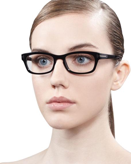 Unisex Semi-Rounded Rectangular Fashion Glasses, Shiny Black/Rose Golden