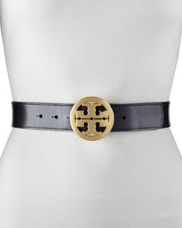 Tory Burch Classic Tory Leather Belt