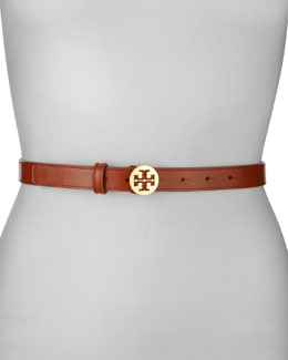 Tory Burch Double-T Logo-Buckle Belt