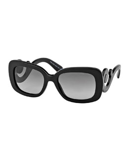 Prada Curved-Temple Sunglasses, Black