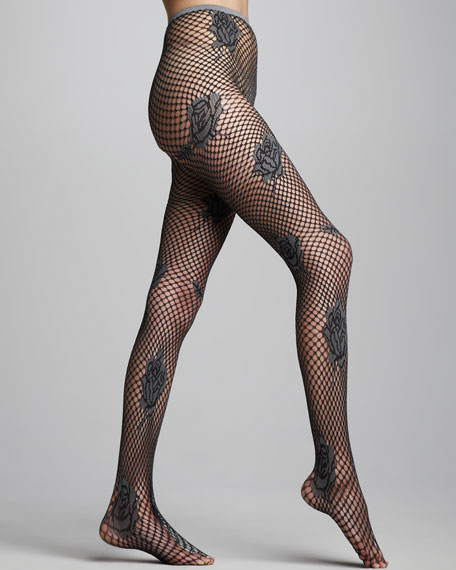 Netted Floral Tights