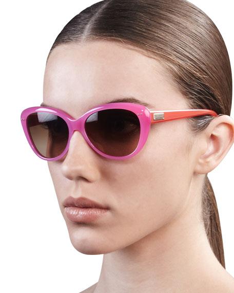 kate spade new york angelique cat-eye sunglasses, pink/orange