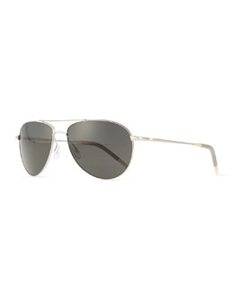 Oliver Peoples Benedict Basic Aviators, Silver/Gray