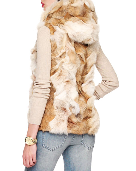 Hooded Patchwork Fox Vest