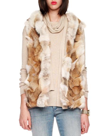 Hooded Patchwork Fox Vest
