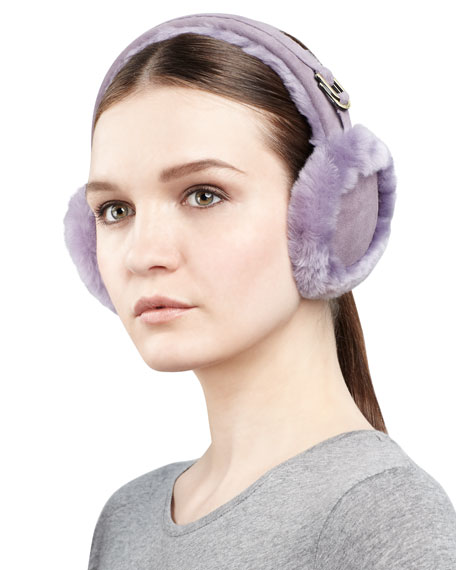 Classic Boxed Shearling Earmuffs, Purple Ash