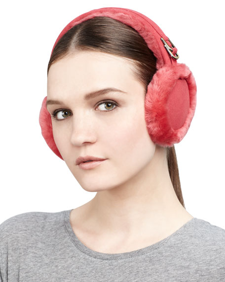 Classic Boxed Shearling Earmuffs, Crimson