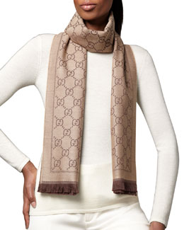 Gucci GG Pattern Scarf, Light Brown/Dark Brown