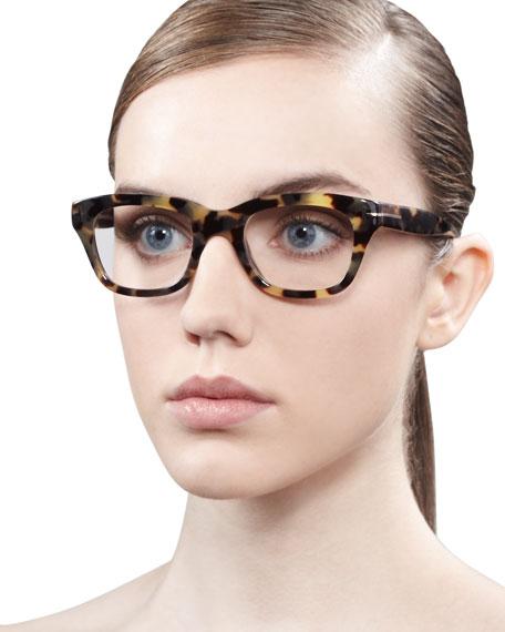 Unisex Semi-Squared Fashion Glasses, Brown/Pink