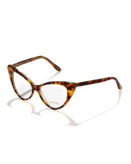 Tom Ford Cat-Eye Fashion Glasses, Light Havana