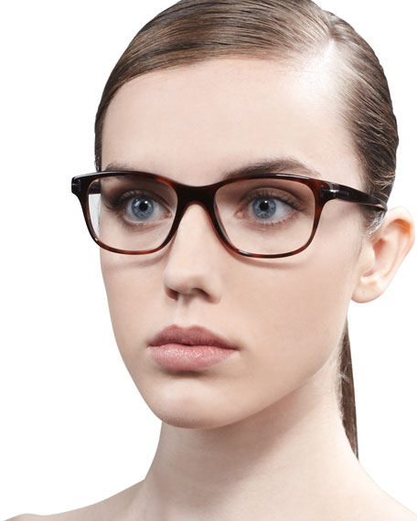 Unisex Semi-Rounded Square Fashion Glasses, Dark Havana