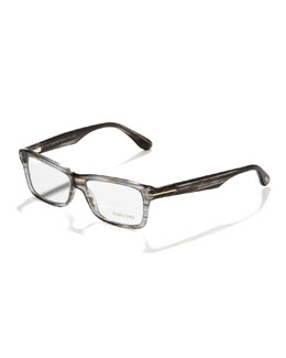 Tom Ford Unisex Soft Rectangular Fashion Glasses, Light Havana