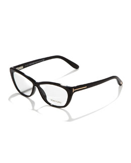 Tom Ford Crossover Cat-Eye Fashion Glasses, Shiny Black/Rose Golden