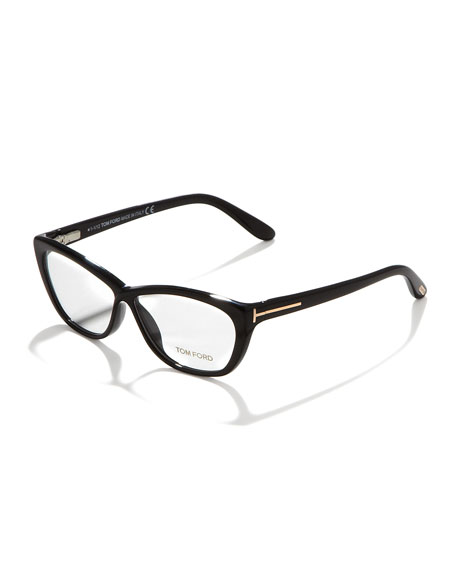 Crossover Cat-Eye Fashion Glasses, Shiny Black/Rose Golden
