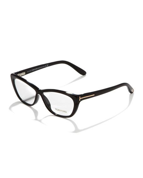 Crossover Cat-Eye Fashion Glasses, Shiny Black/Rose Golden