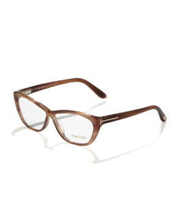 Tom Ford Crossover Cat-Eye Fashion Glasses, Shiny Brown/Rose Golden