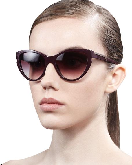 Cat-Eye Sunglasses, Burgundy