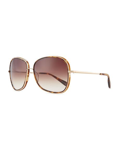 Emely Round Enamel & Metal Sunglasses, Brown