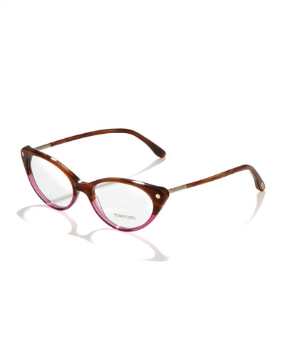 Tom Ford Cat-Eye Fashion Glasses, Striped Brown