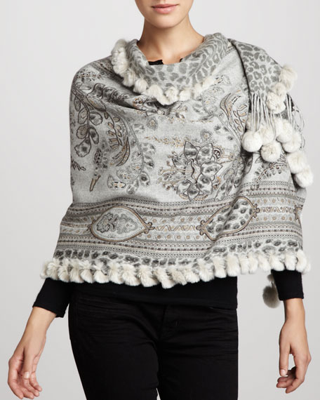 Reversible Printed Cashmere Stole, Gray